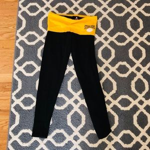 Steelers leggings! Fold over waist, black and gold
